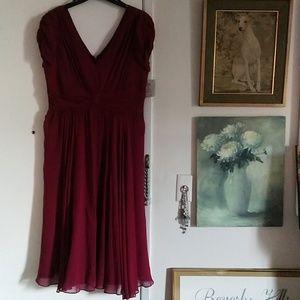 Suzi Chin sz 14 red silk chiffon dress
